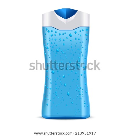 Blue bottle with water drops. Cosmetic packaging for shower gel, shampoo or conditioner. Isolated on a white background.  - stock vector
