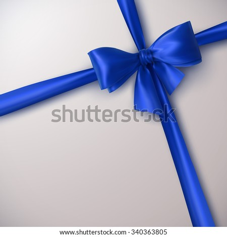 Blue Bow And Ribbon. Vector Holiday Illustration. Decoration Element For Design  - stock vector