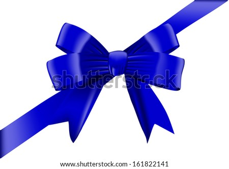 Blue bow isolated on white background. Vector illustration
