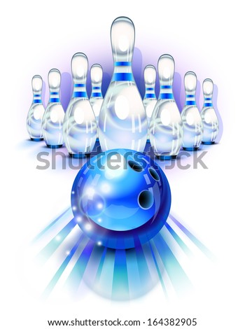 Blue bowling ball in motion in front of the pins - stock vector