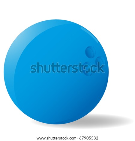 blue bowling ball with slight shadow isolated on white - stock vector