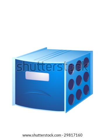 Blue box for documents with a single partition. - stock vector