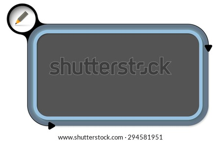 Blue box for your text and pencil - stock vector