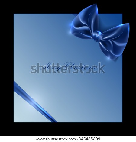 blue box with bow and ribbon on a black background, vector - stock vector