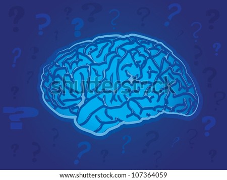 Blue Brain with Question Marks - stock vector