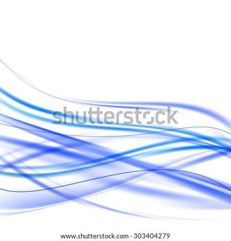 blue bright shiny swoosh waves weaving background. vector illustration - stock vector