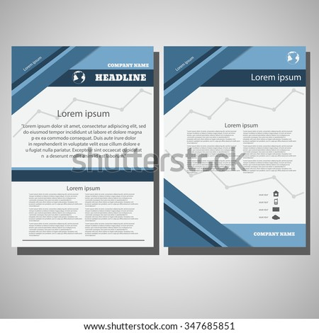 Blue Brochure Flyer design size A4, Front page and back pages eps 10 - stock vector