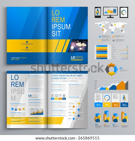 Blue brochure template design with yellow and gray diagonal shapes. Cover layout and infographics - stock vector