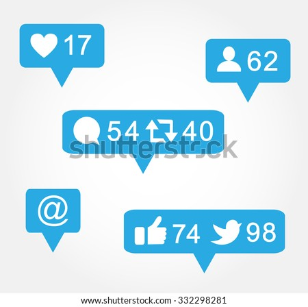 Blue bubble like,followers,comment icon set for social media, websites, interfaces. Vector illustration. - stock vector