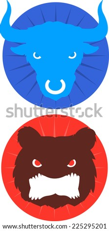 Blue Bull & red bear icons vector illustration. - stock vector