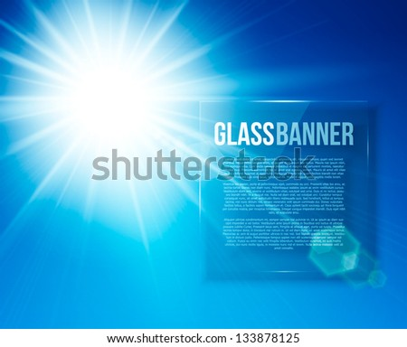 Blue burst, abstract background with glass panel. Vector illustration. - stock vector