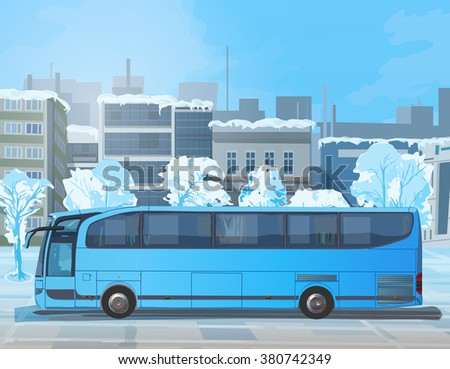 Blue bus on winter city street - stock vector