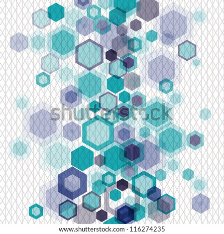 Blue business abstract geometrical background with vertically arranged hexagons and nets. Eps10 - stock vector