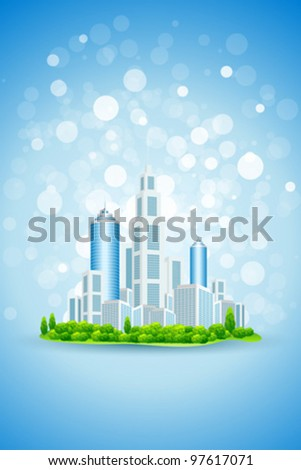 Blue Business Background with Modern City and Sparkles