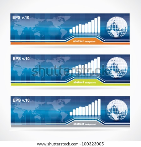 Blue business banner set - stock vector