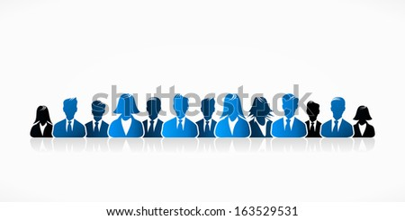 Blue business people group abstract silhouettes illustration  - stock vector