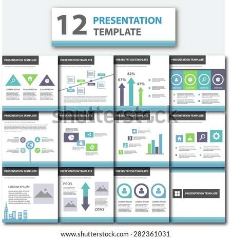 Blue Business Presentation Template Flat Flyer brochure design Set - stock vector