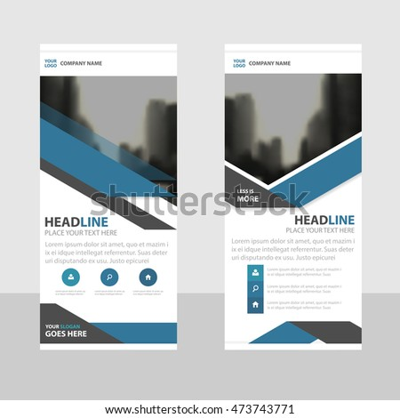 Blue Business Roll Up Banner flat design template ,Abstract Geometric banner template Vector illustration set, abstract presentation brochure flyer template vertical template vector