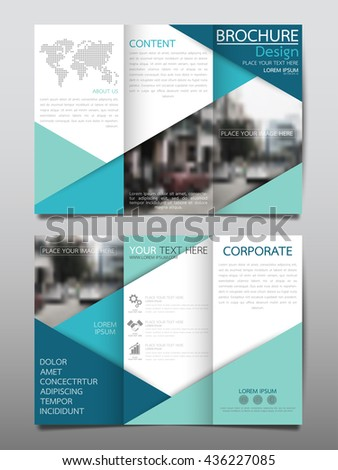 Blue business three fold brochure annual report flyer design template vector, Leaflet cover presentation abstract geometric background, layout in A4 size - stock vector