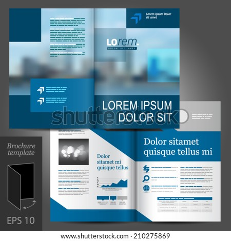 Blue business vector brochure template design with cityscape and geometric elements - stock vector
