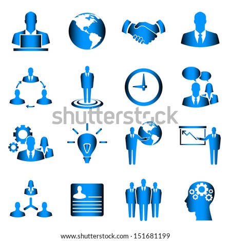 Blue business vector icon set on white background - stock vector