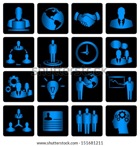 Blue business vector icons on black background - stock vector