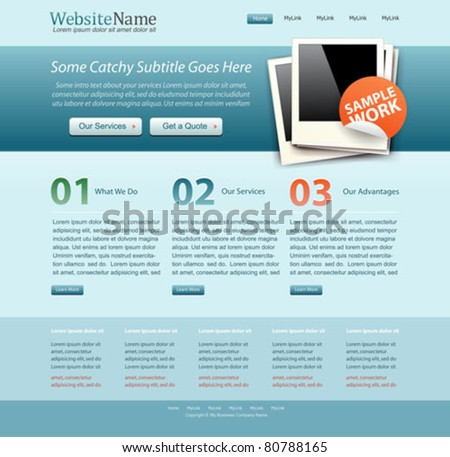 blue business website template - stock vector