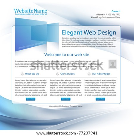 blue business website template design with wavy background - stock vector