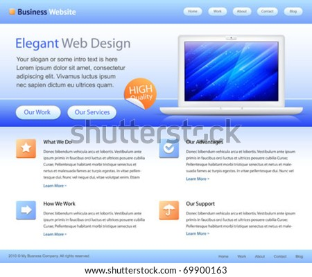 blue business website template - home page design - with grids on the layout - stock vector