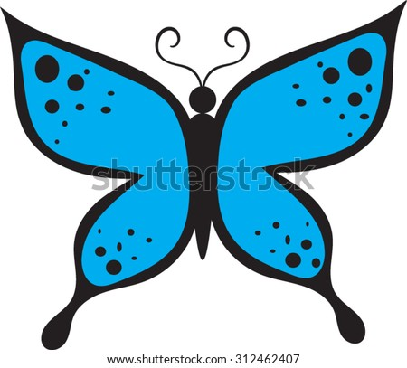 Blue Butterfly Cartoon Vector Illustration 312462407 on Flower Template To Color