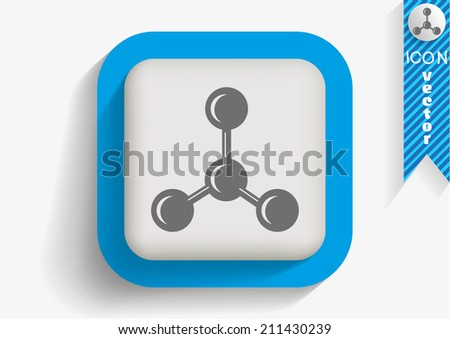 Blue Button icon on white background - stock vector