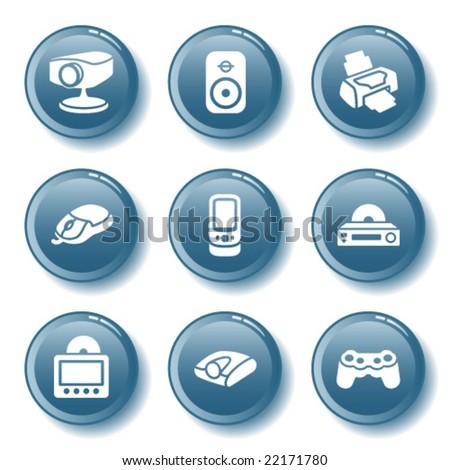 Blue button set 21 - stock vector