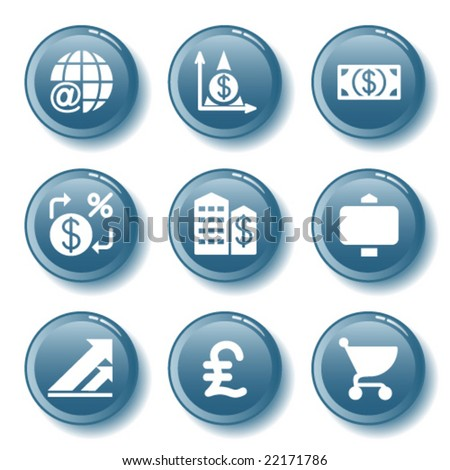Blue button set 23 - stock vector