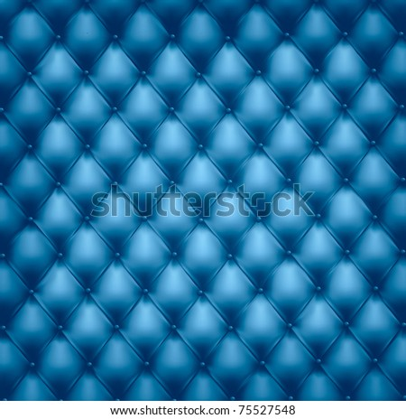 Blue button-tufted leather background. Vector illustration. - stock vector