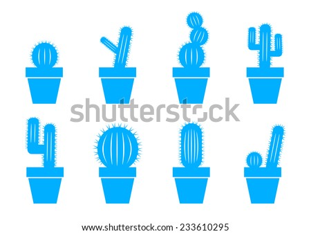 Blue cactus icons on white background - stock vector