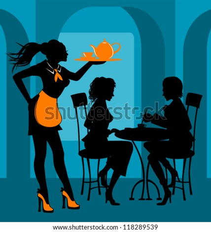 Blue cafe - stock vector