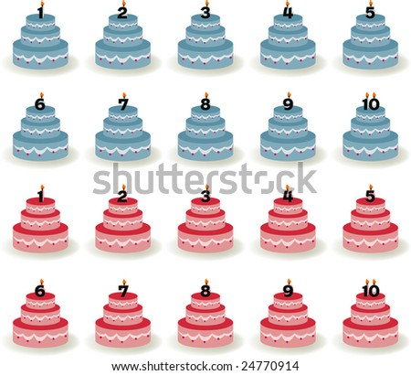 Blue cakes and pink cakes with a number candle in the bottom - stock vector