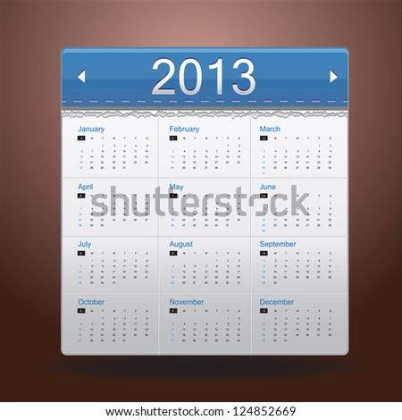 Blue Calendar 2013 - stock vector
