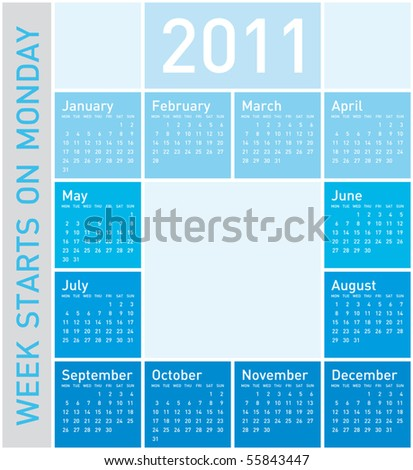 Blue Calendar for Year 2011, week starts on Monday - stock vector