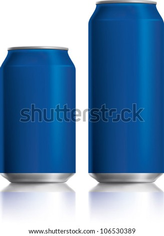 Blue can vector visual 330 ml & 500 ml, ideal for cola, beer, lager, alcohol, soft drinks, soda, fizzy pop, lemonade, energy drink, juice, water etc. Drawn with mesh tool. Fully adjustable & scalable - stock vector