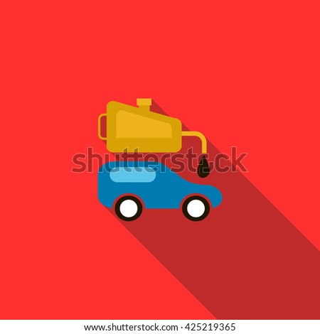 Blue car and oiler icon, flat style - stock vector