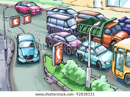 Blue car is making a detour round the cars stuck in a traffic jam. - stock vector