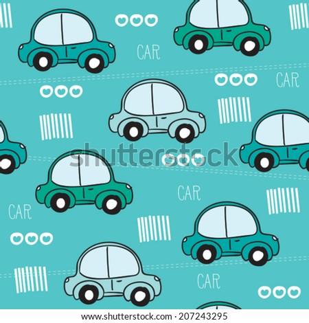 blue car pattern vector illustration - stock vector