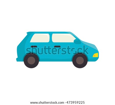blue car vehicle transportation automobile side view vector illustration