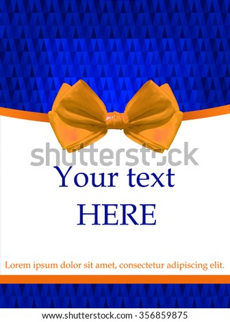 Blue card template with realistic orange bow. Blue crystal background. - stock vector