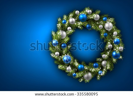 Blue card with Christmas wreath. Vector paper illustration. - stock vector