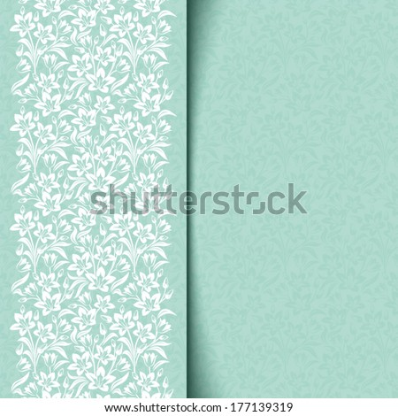 Blue card with floral pattern. Vector eps-10. - stock vector