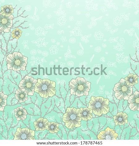 Blue card with flowers - stock vector