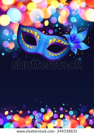Blue carnival mask vector poster background - stock vector