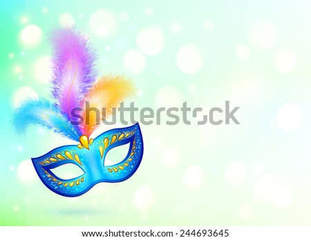 Blue carnival mask with colorful feathers vector banner background - stock vector